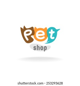 Pet shop logo template. Heads of brown dog, red cat and green blue parrot. Pet shop or store signboard.