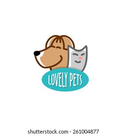 Pet shop logo template. Heads of the funny smiling dog and cat.