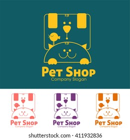 Pet shop logo template. Heads of dog, cat and bird.