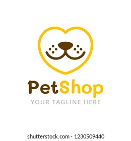 Pet shop logo template. Love pets vector illustration. Dog head in the shape of a heart.