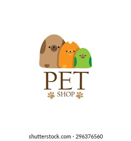 Pet shop logo template. Vector image of an dog cat and bird on white background. Pet shop or store signboard.