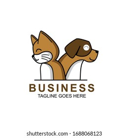 Pet Shop Logo Vector With Cat and Dog Illustration. Isolated In White Background