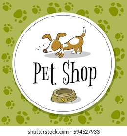 Pet shop logo vector design, animals care symbol, sign. Doodle, cartoon style dog hand drawn illustration.