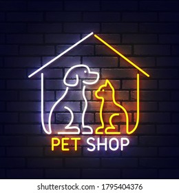 Pet shop neon sign. Glowing neon light signboard of dog and cat pet house. Sign of pet shop with colorful neon lights isolated on brick wall. Vector illustration