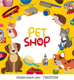 Pet shop poster design with many pets and accessories illustration
