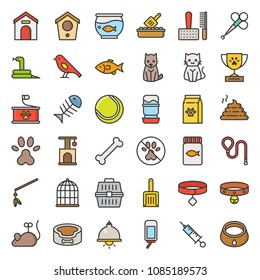Pet shop related and symbol, filled outline icon vector