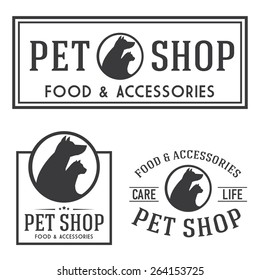Pet shop retro insignia and logotypes collection