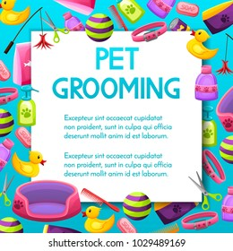 Pet shop sale square vector banner with shadow,poster design on colorful background with animal grooming accesories, pet store,market concept.