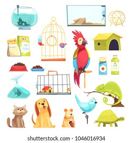 Pet shop set with domestic animals, dry feed, medicines, cages and aquariums isolated vector illustration