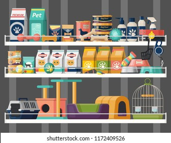 Pet shop shelves with dog and cat food, rubber bone toys and cat litter, bird cage. Veterinary store showcase with animal comb and products, accessories with price tags. Animal nutrition and retail
