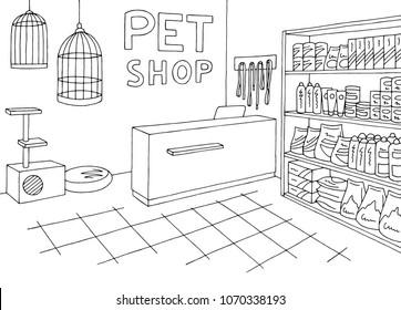 Pet shop store graphic interior black white sketch illustration vector