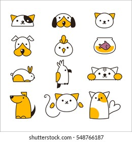 Pet shop symbols vector.