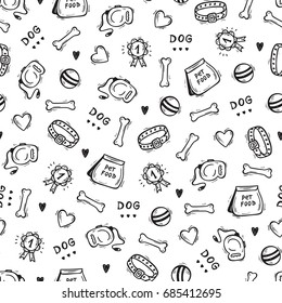 Pet Shop Vector background. Hand drawn doodle Goods for pets. Dog supplies and Pet Food Seamless pattern. Black and white illustration