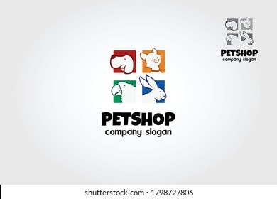 Pet Shop Vector Logo Illustration is a clean and professional logo template suitable for any business or personal identity related to animal lovers, pet shops, veterinary clinics, etc.