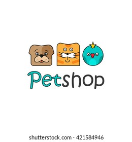 Pet shop vector logo template, flat outline color pets dog, cat, bird logotype design, pets faces isolated on white background, cartoon logotype illustration