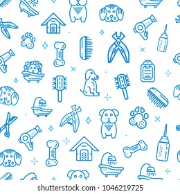Pet Shop Vector seamless pattern. Dog supplies line icons design.