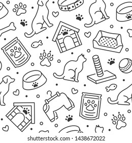 Pet shop vector seamless pattern with flat line icons of dog house, cat food, food bowl, puppy toys, animal paw. Black white color background, wallpaper for veterinary clinic.