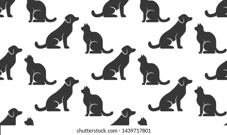 Pet shop vector seamless pattern with flat icons of dog and cat sitting opposite each other. Black silhouette on white color background, animal wallpaper for veterinary clinic.