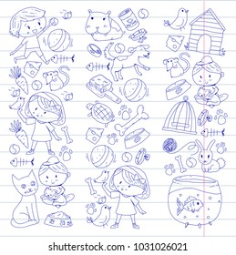 Pet shop, zoo, veterinary. Kindergarten small children. Kids plays with animals. Vector pattern woth cat, hamster, dog, bunny, rabbit. Study, care and play