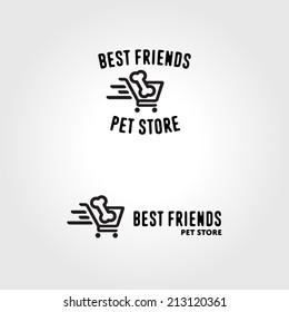 Pet store animal market funny bone shopping logo badge template
