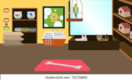 Pet store interior background vector illustration