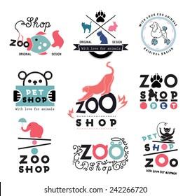 Pet store logo template. Wild animals logotype. Dog poodle logo. Wild cat elephant bear logo sign. Shop animal logo sign template. Zoo shop sign. Pet logo. Animal logo. Aquarium Fish sign