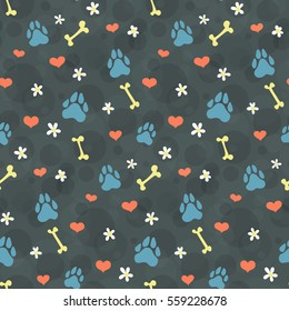 pet theme background vector pattern with dogs paw prints