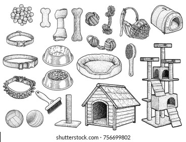Pet toy collection illustration, drawing, engraving, ink, line art, vector