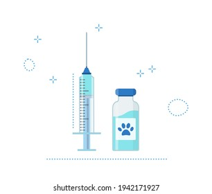 Pet Vaccination concept. Idea vaccine injection for protection from disease animal. Blue Icon syringe and bottle with vaccine. Vector flat illustration isolated.
