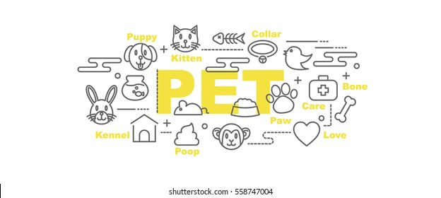 pet vector banner design concept, flat style with thin line art icons on white background