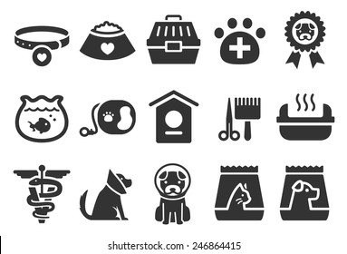 Pet vector illustration icon set 2. Included the icons as dog, puppy, cone, vet, pet food, cat litter box and more.