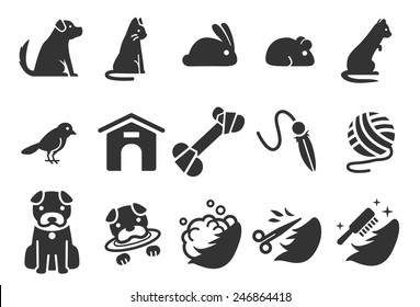 Pet vector illustration icon set 1. Included the icons as dog, cat, puppy, bird, rabbit, mouse and more.