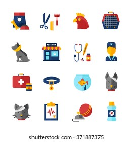 Pet vet decorative icons set with home animals pet shop medical bag collar and animal feed isolated vector illustration