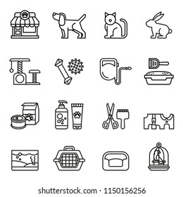pet, vet, pet shop icon set with white background. Thin Line Style stock vector.