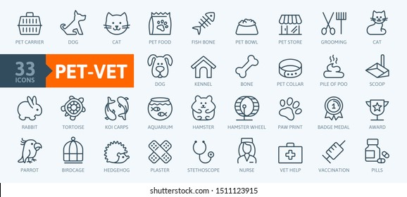 Pet, vet, pet shop, types of pets - minimal thin line web icon set. Outline icons collection. Simple vector illustration.