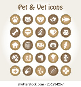 Pet and veterinary icon set