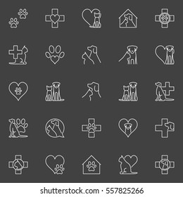 Pet and veterinary line icons. Vector set of veterinary medicine linear symbols on dark background