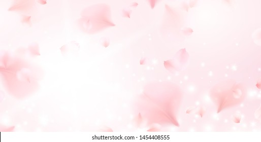 Petals of pink rose spa background. Realistic flying sakura cherry flower petals elements for romantic banner design.\n