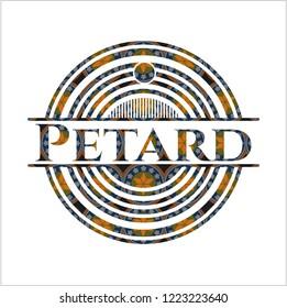 Petard arabic style emblem. Arabesque decoration.