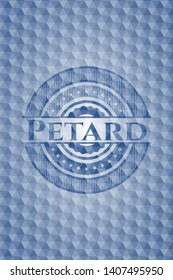Petard blue emblem or badge with abstract geometric pattern background. Vector Illustration. Detailed.