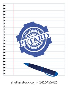 Petard draw with pen effect. Blue ink. Vector Illustration. Detailed.