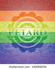 Petard emblem on mosaic background with the colors of the LGBT flag