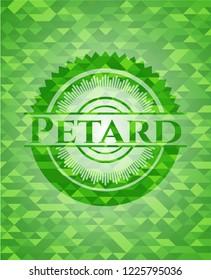 Petard green emblem. Mosaic background