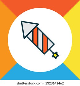 Petard icon colored line symbol. Premium quality isolated firecracker element in trendy style.
