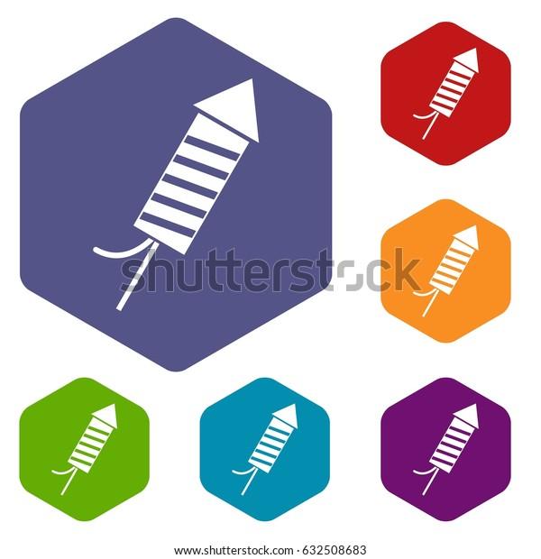 Petard icons set hexagon isolated vector illustration