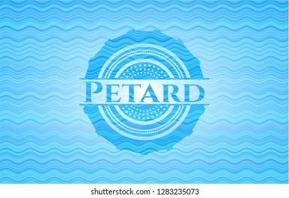 Petard light blue water badge background.