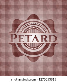 Petard red seamless emblem with geometric pattern background.