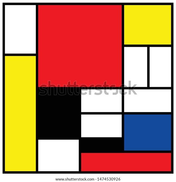 Pete Pieter Piet Mondriaan Mondrian Style Stock Vector