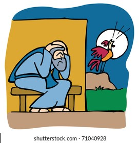 Peter denies Jesus before the rooster crows three times