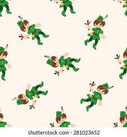 Peter Pan , cartoon seamless pattern background